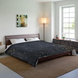 Photograph of Whimzencal King Size Comforter in Bamboo Coconut Print on a king sized bed, in a tastefully decorated bedroom with a woven rug and white brick walls